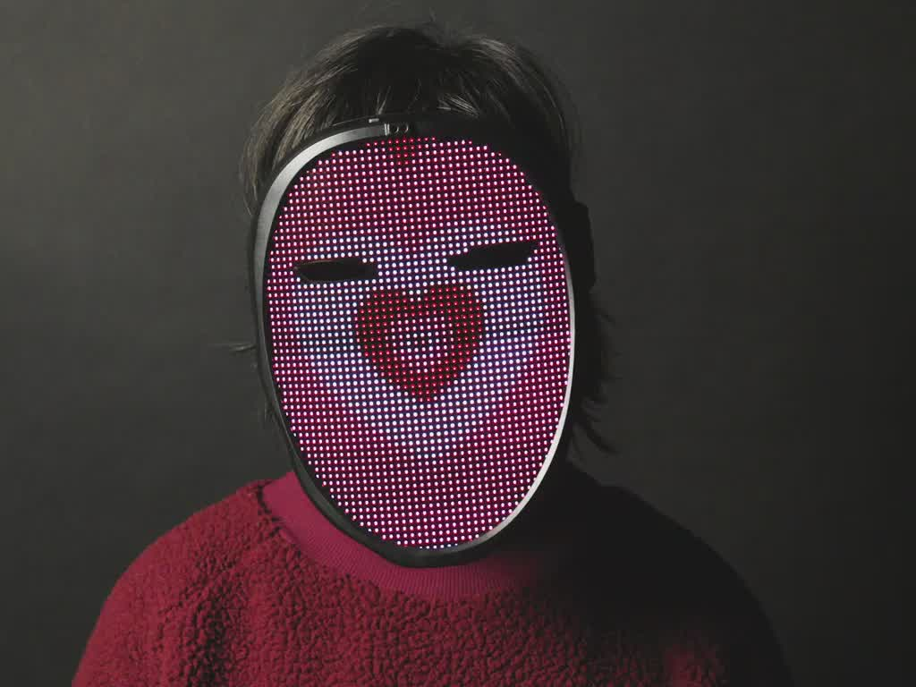 Face-Changing LED Matrix Mask from Lumen Couture