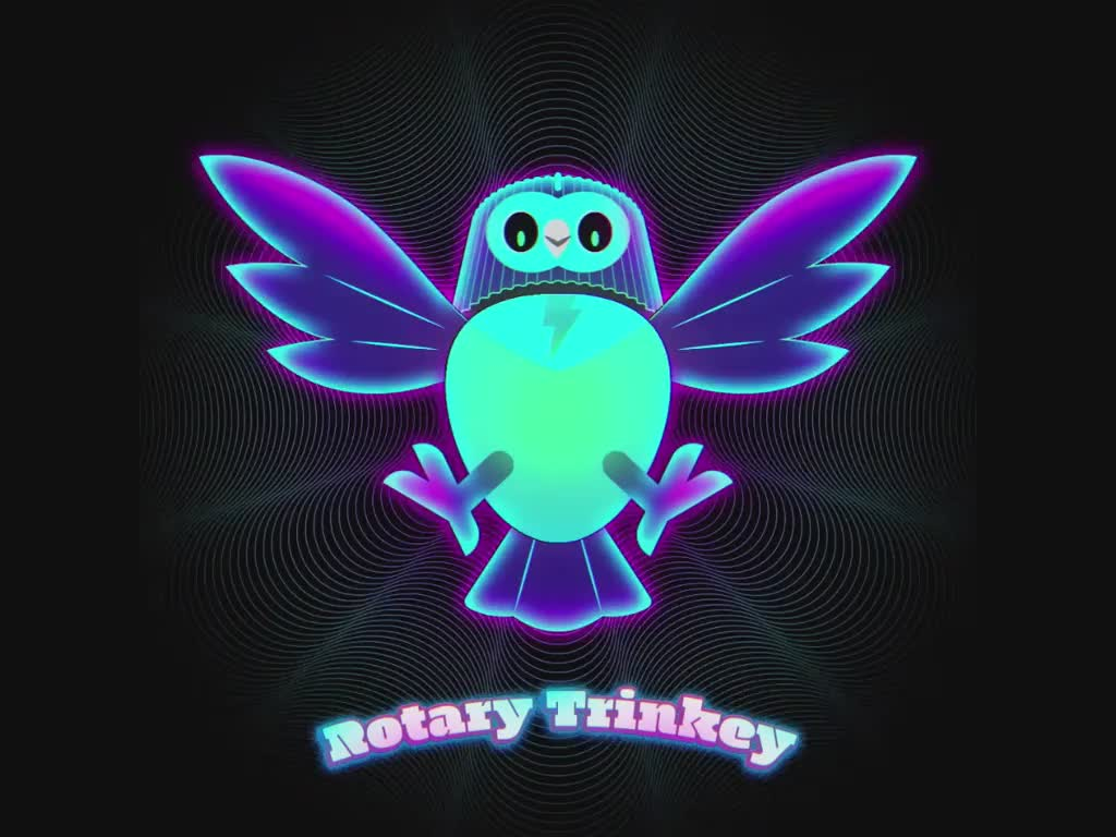 Animation of the Rotary Trinkey creature which is sorta like an owl flapping its wings.