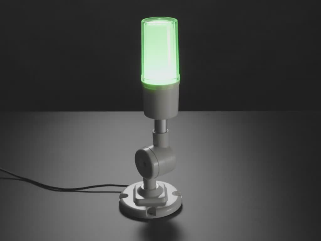 Video of tall white USB Tower Lamp flashing green, yellow, red LEDs.