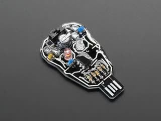 Assembled Solar Powered SKULL Blinky LED Pendant Kit, with LEDs blinking