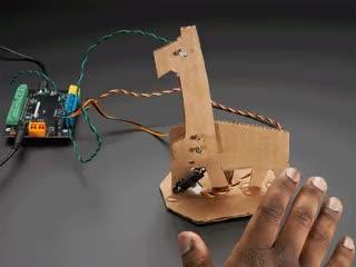 Waving hand with robotic cardboard horse following along nodding its head.