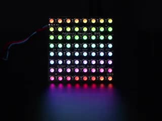 Adafruit NeoPixel NeoMatrix 8x8 - 64 RGBW LED Pixel Matrix lit up rainbow and white