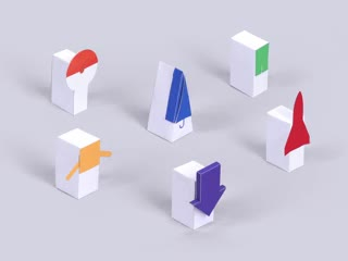Animation of paper boxes with various symbols opening and closing