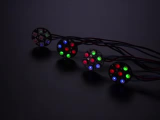 Various RGB and RGB NeoPixel Jewels animating colors