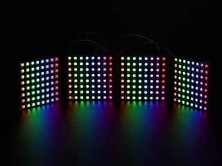 Various RGB and RGB NeoPixel 8x8 matrices animating colors
