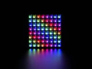 Adafruit DotStar High Density 8x8 Grid animating a rainbow plasma design