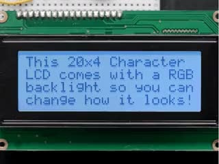LCD wired on breadboard with backlight changing color