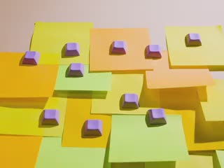 Video of 10 Purple keycaps spread out on post it notes being elevated by a breeze.