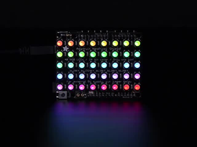 Adafruit NeoPixel Shield for Arduino - 40 RGB LED Pixel Matrix lit up rainbow and white