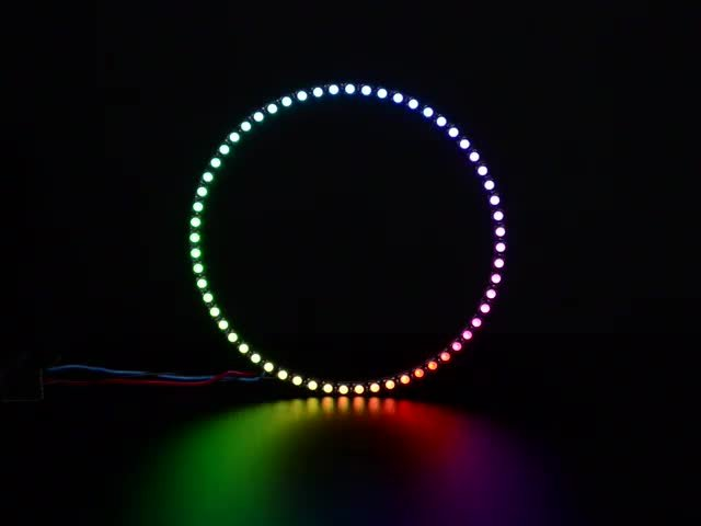 NeoPixel Ring with 60 x 5050 RGBW LEDs lighting up rainbow and white