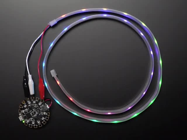 Adafruit NeoPixel LED Strip with Alligator Clips wired to Circuit Playground, lighting up rainbow
