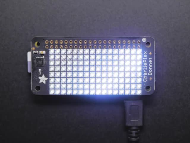 Adafruit CharliePlex LED Matrix Bonnet - 8x16 Cool White LEDs